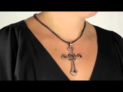 14k Gold Plated Crystal Cross Pendant Leather Cord
