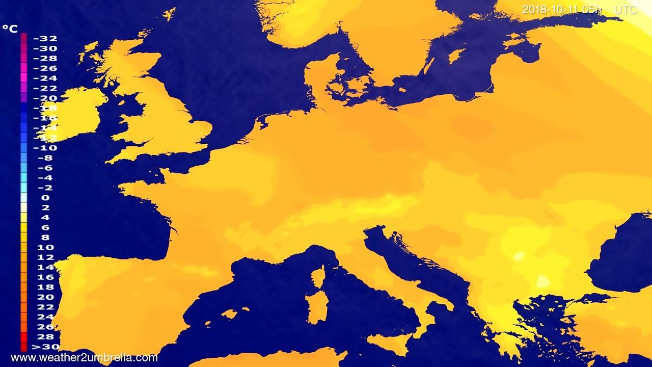 Temperature forecast Europe 2018-10-08