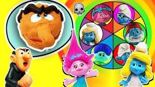 Trolls & Smurfs Spin The Wheel Game w PlayDoh Drill N Fill Gargamel, Poppy, Smurfette & Brainy Toys! Video