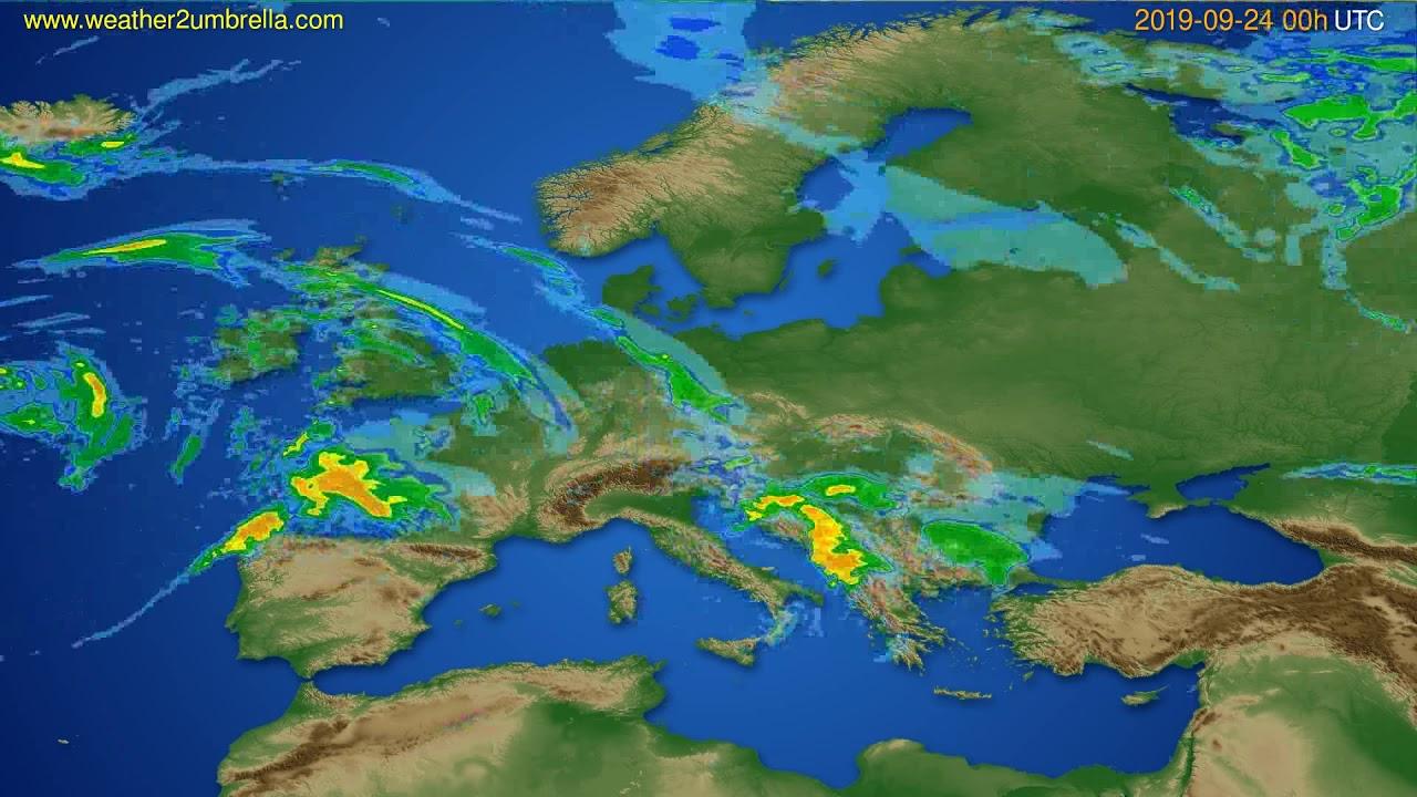 Radar forecast Europe // modelrun: 12h UTC 2019-09-23
