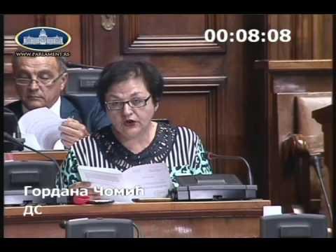 Гордана Чомић у Скупштини о Предлогу закона о изменама и допунама Закона о хипотеци