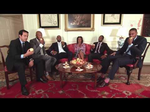 Miami Heat in the White House having fun with the first Lady!