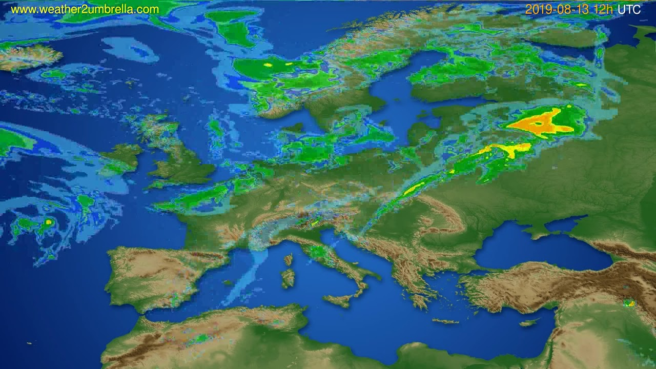 Radar forecast Europe // modelrun: 00h UTC 2019-08-13