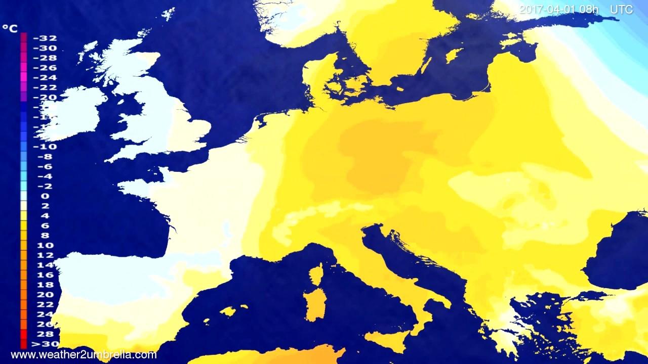 Temperature forecast Europe 2017-03-29