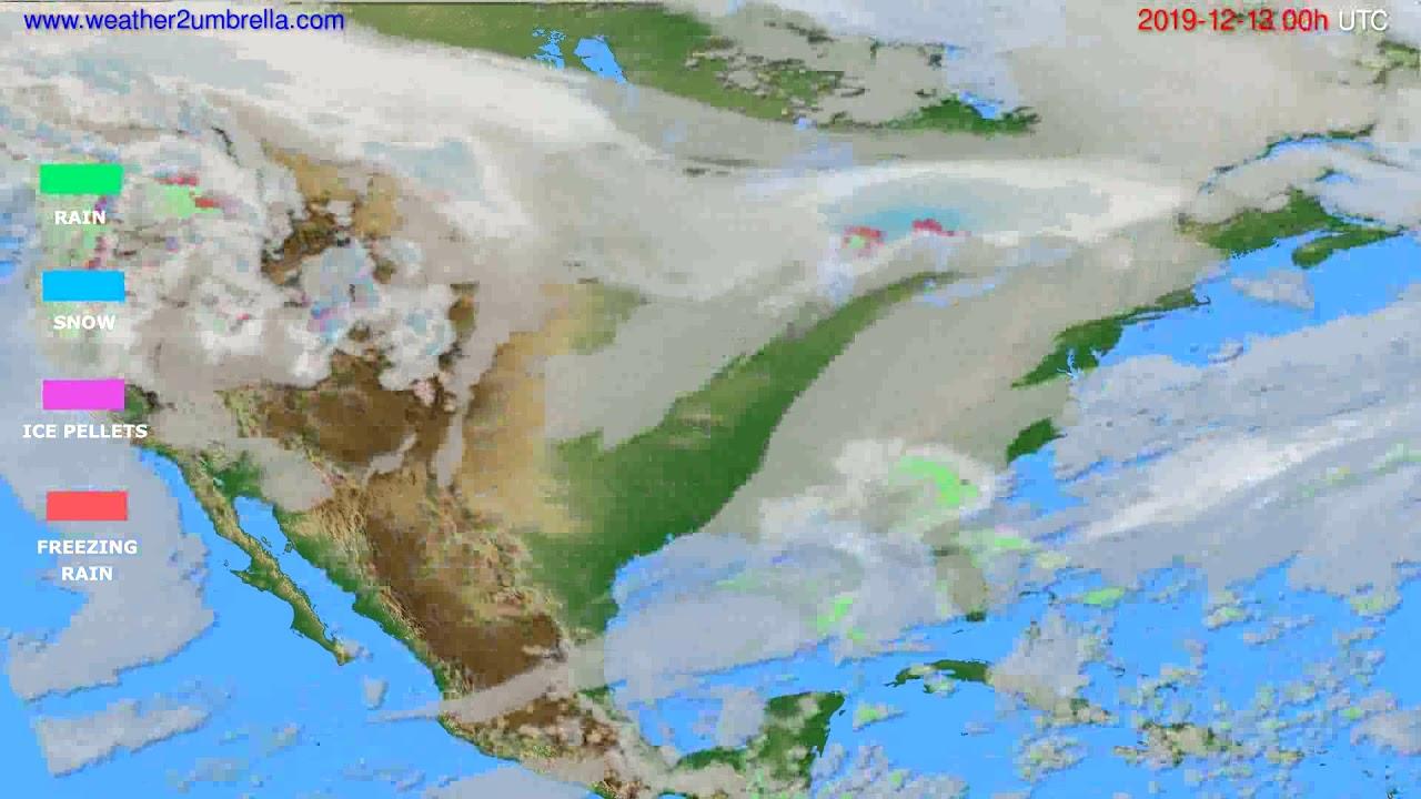 Precipitation forecast USA & Canada // modelrun: 00h UTC 2019-12-12