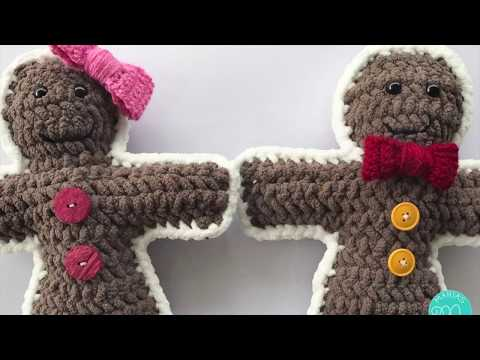 Crochet Tutorial Gingerbread Boy and Girl Amigurumi Ragdoll Style