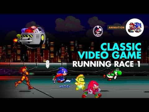 Classic Video Game Characters Foot Race.