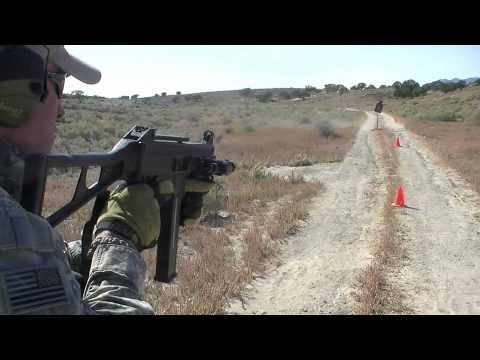 ump45 - Putting a few rounds downrange with a H&K UMP45 subgun on some steel. Cal is .45 ACP and trigger module is semi, 2 shot burst, and full. Normally this UMP ha...