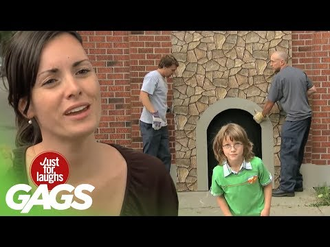 Kid Disappears In Brick Wall Prank