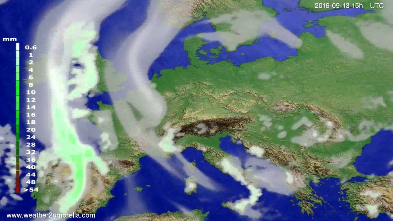 Precipitation forecast Europe 2016-09-11