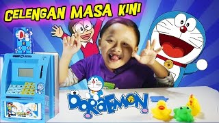Unboxing mainan anak celengan Doremon - ATM TABUNGAN PAKAI UANG BENERAN ✿ Uyyus fun video