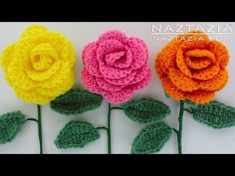 DIY Learn How to Crochet a Beginner Easy Flower - Rose Rosas Bouquet Flowers Leaf Leaves Stem