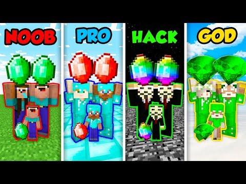 Minecraft NOOB vs. PRO. vs. HACKER vs. GOD: FAMILY EMERALD CHALLENGE in Minecraft! (Animation)