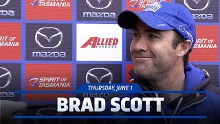 Brad Scott fronts the media ahead of main training in the lead up to the game against Richmond.