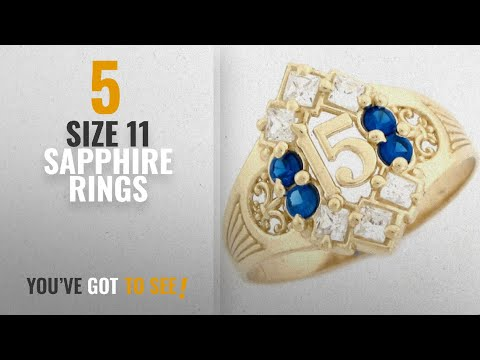 10 Best Size 11 Sapphire Rings: 10k Yellow Gold Simulated Sapphire Birthstone Beautiful Quinceanera