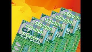 Scratching 5 X $3 $75,000 Cash Texas Lottery Scratch Off Tickets. Will I find a big win? Stay tuned. Join me on Facebook: https://www.facebook.com/TexanCandy/    Fan Mail:Candy PO Box 241763San Antonio, TX 78224