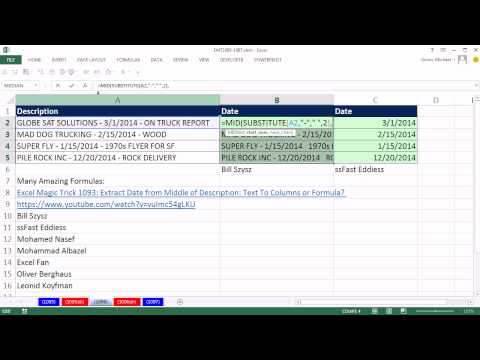 Excel Magic Trick 1096: Extract Date from Middle of Description, Better Formula