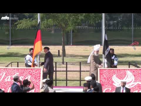 JalsaGermany 2016 - Flaghoisting ceremony with Hazrat Khalifatul Masih V