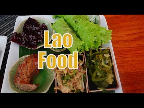 Eating traditional Lao cuisine for lunch at Tamarind in Luang Prabang