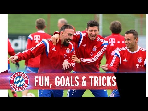 fc - FC Bayern stars have fun during training and show some nice goals and tricks.