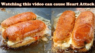 Heartattack Hot dog | Butteriest Double cheese hot dog | street food of india
