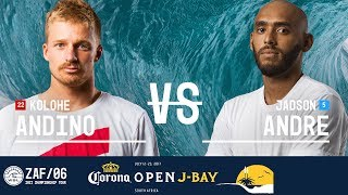 Kolohe Andino and Jadson Andre paddle out in Round Two, Heat 4 at the 2017 Corona Open J-Bay. #WSL #jbay Subscribe to the WSL for more action: ...