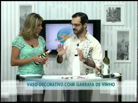 Vaso Decorativo com Garrafa de Vinho - Artesanato @pgm360