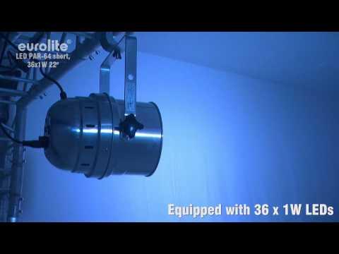 Eurolite LED PAR-64 RGB 36x 1W 22° Short. Professional LED spot in LED DMX format