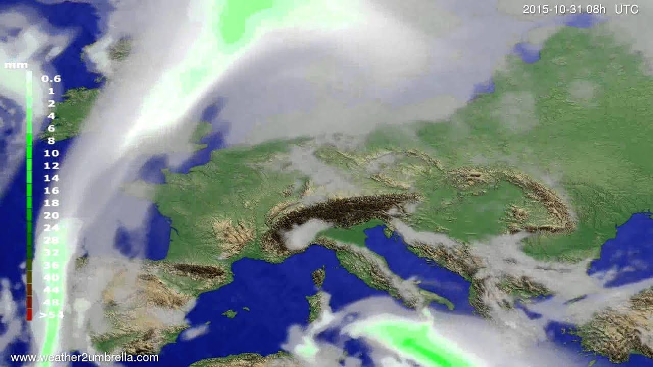Precipitation forecast Europe 2015-10-28