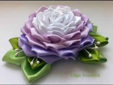Канзаши розы из атласных лент мастер класс