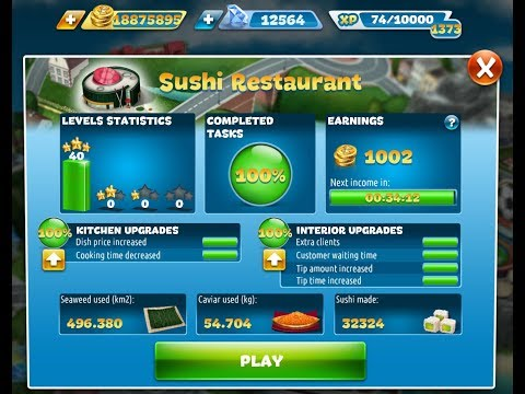 Cooking Fever-Sushi Restaurant Level 1-40(3 Stars)