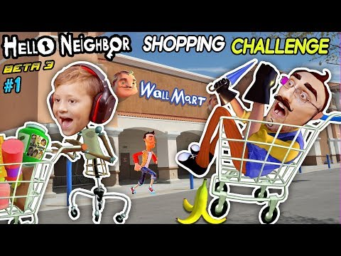 HELLO NEIGHBOR SHOPPING CHALLENGE! NEW HOUSE TOUR + WalMart Has EVIL Mannequins! (FGTEEV Beta 3 #1) (видео)