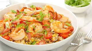 Crispy Fried Rice with Bacon, Shrimp & Corn | Easy Dinner Ideas by The Domestic Geek