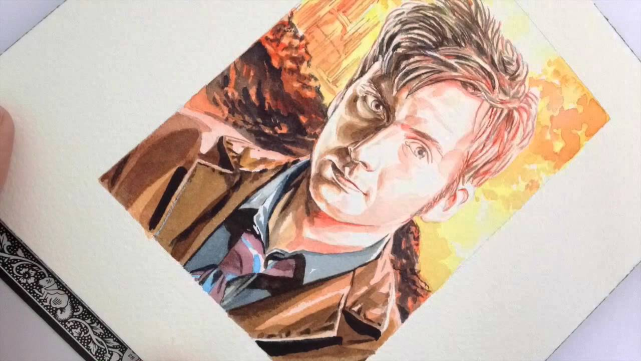 An Incredible Tenth Doctor Watercolour – In 90 Seconds!