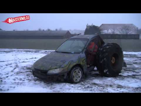Doing donuts in a car with a tractor axle