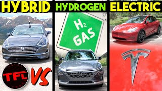 Are Electric (Tesla Model Y) or Hydrogen (Hyundai Nexo) or Hybrid (Hyundai Sonata) Cars The Future? by The Fast Lane Car