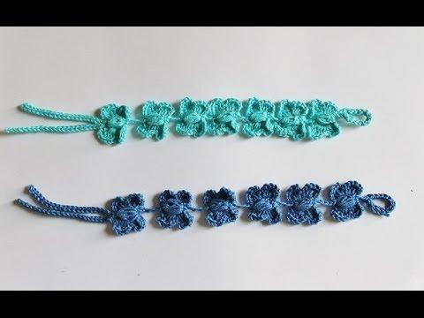 uncinetto - braccialetto con farfalle simil cruciani