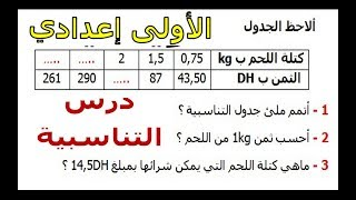 الرياضيات الأولى إعدادي - التناسبية تمرين 28