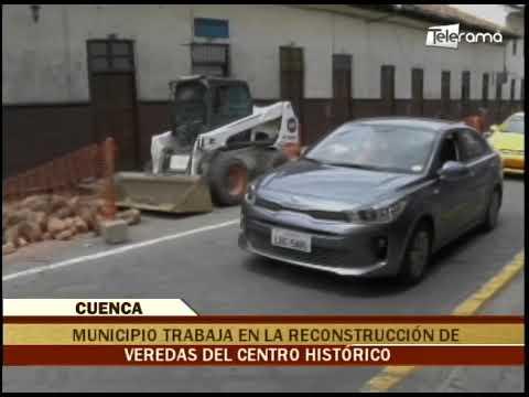 Municipio trabaja en la reconstrucción de veredas del centro histórico