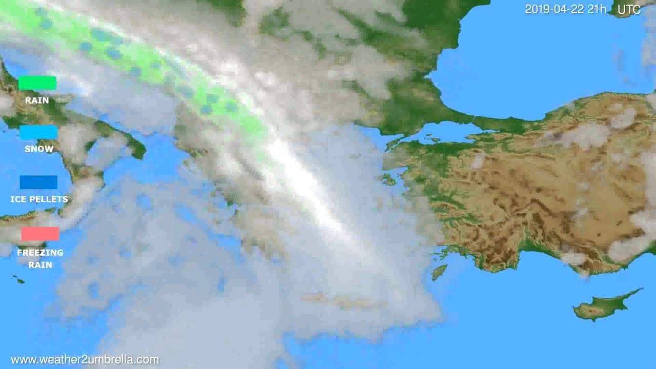 Precipitation forecast Greece // modelrun: 00h UTC 2019-04-21