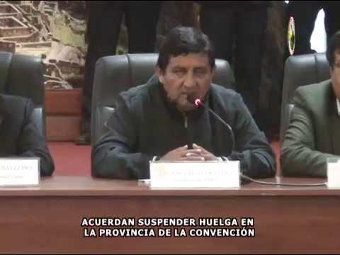 DIRIGENTES DE LA PROVINCIA DE LA CONVENCI�N ANUNCIARON FIN DE HUELGA INDEFINIDA