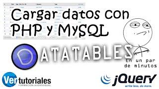 Crear datatable con JQuery, cargando una tabla MySQL con PHP