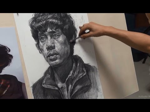 Portrait Drawing in Pencil 4x Speed