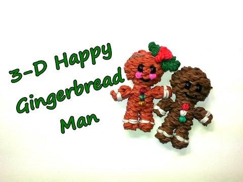 3-D Happy Gingerbread Man Tutorial by feelinspiffy (Rainbow Loom)