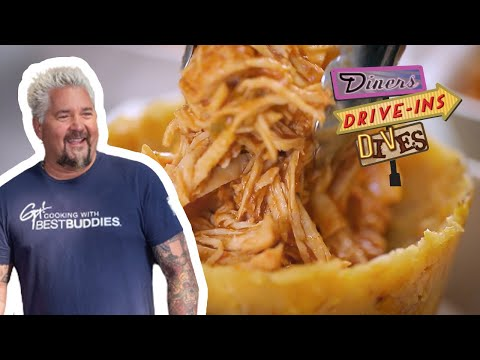 Guy Fieri Tries Chicken Mofongo Relleno and Alcapurrias | Diners, Drive-Ins and Dives | Food Network