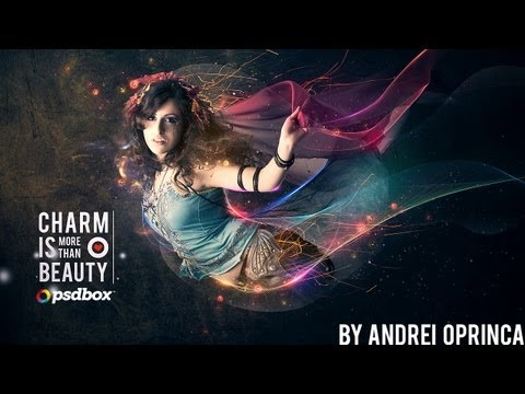 Beautiful lady with flowing light effects – Photoshop Tutorial