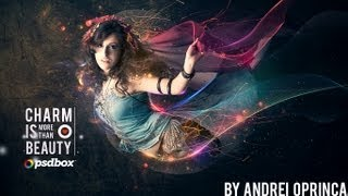 Beautiful Lady With Flowing Light Effects - Photoshop Tutorial