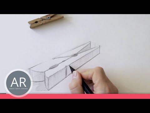 Zeichnen lernen – Grundform als Ausgangsform eines Objektes — Wäscheklammer