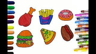Let's Color Chicken Fried, Sausage Hamburger, Potato Chips, Pizza, Ice Cream