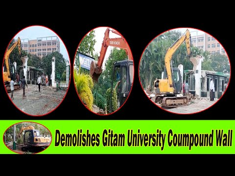 GVMC Officials Demolishes Gitam University Coumpound Wall Visakhapatnam Vizagvision